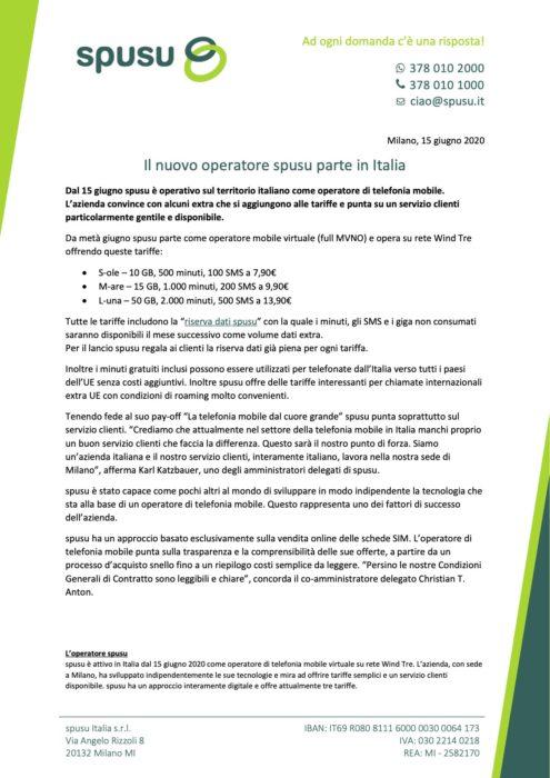 Il nuovo operatore spusu parte in Italia - Comunicato stampa 2020 06 15