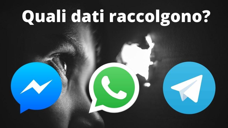 Quali dati raccolgono whatsapp messenger telegram
